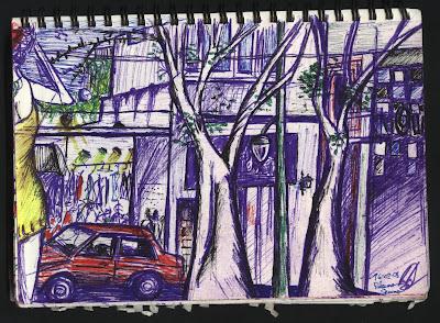 dibujo Plaza Serrano. Buenos Aires. Argentina