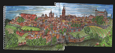 dibujo panorámica toledo desde la virgen del valle, panoramic of toledo, spain drawing