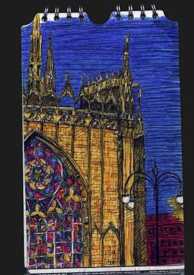 dibujo del duomo de milano, milan cathedral drawing