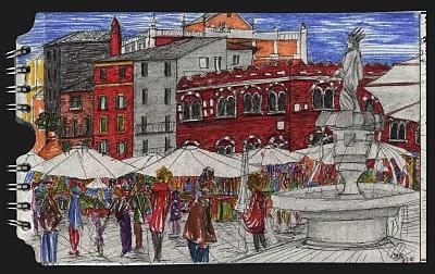 Piazza Erbe. Verona. Italia. dibujo, drawing