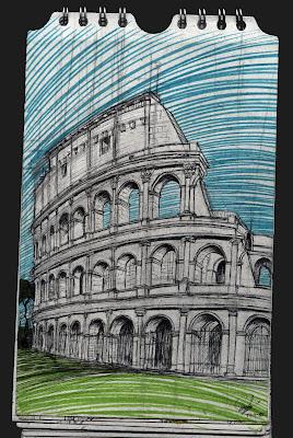 Colosseo de Roma. Italia. dibujo, drawing