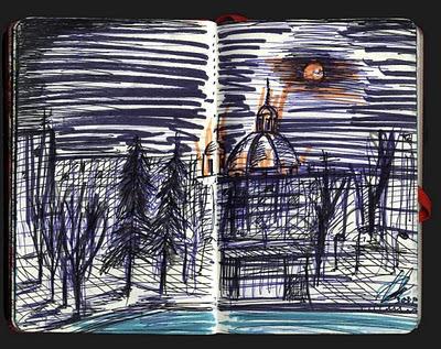 Luna llena sobre San Francisco el Grande. Madrid