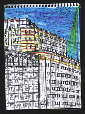 dibujo Rainbow at Park Avenue. New York City drawing