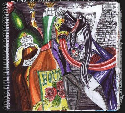 dibujo Cuadragésima Dimensión, botellas de licor, botella Four Roses