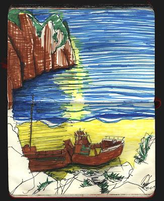 naufragio en zakynthos, grecia dibujo.zante shipwreck drawing, greece