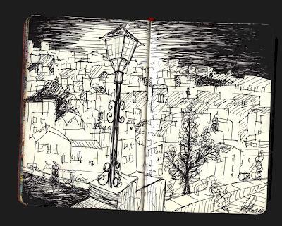 dibujo vejer de la frontera cadiz, drawing