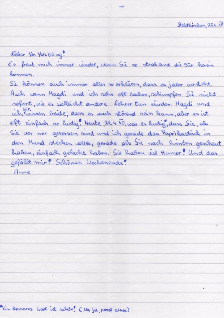 Briefe An Lehrerin Schreiben : Neuemittelschulefeldkirchen briefe an die lehrerin bzw