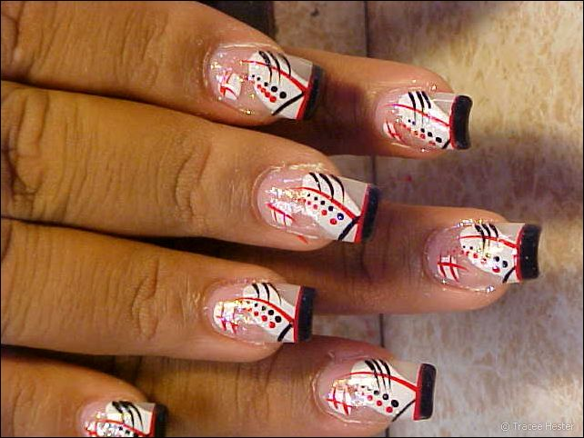 topnails: Reverse French Manicure style with thin square black tips ...