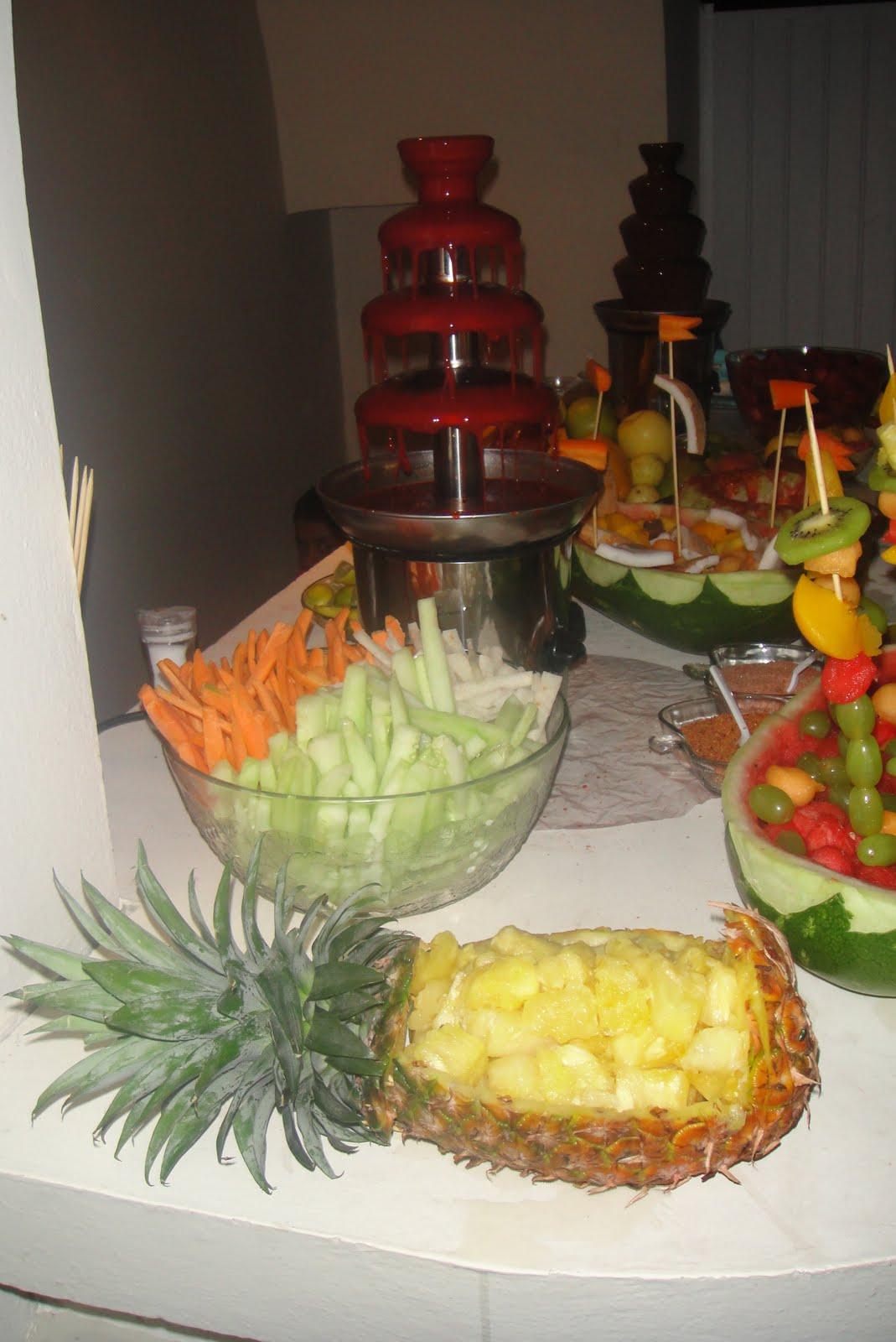 decoracion frutal fuentes de chocolate y chamoy fuentes