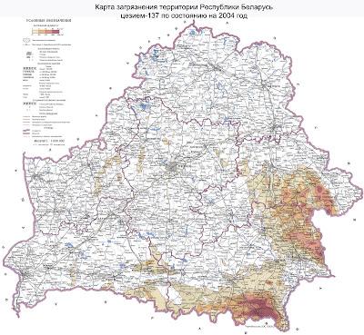 Карта радиактивного загрязнения цезием-137 территори РБ