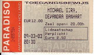 michael gira, paradiso, 9 maart 2003, 2003, retro, toegangskaartje