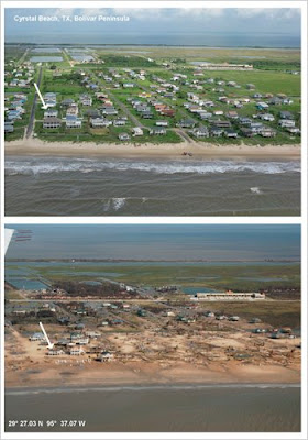 Crystal Beach, Texas on the Bolivar Peninsula, before and after Hurricane Ike