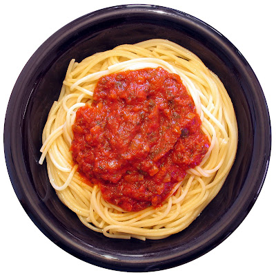 Marinara sauce on spaghetti