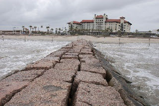Hotel Galvez, Galveston, from a breakwater