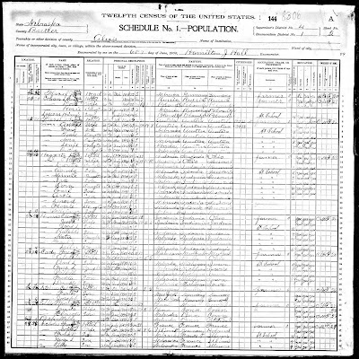 1900 Census record for Louis Cohen family, Butler Co, NE