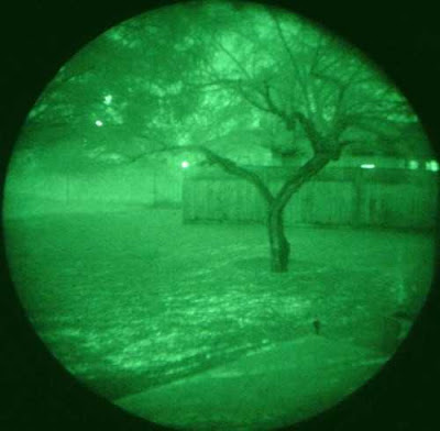 Viwe of yard throught night vision goggles