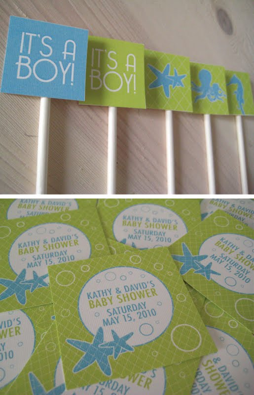 Sea themed baby shower invitation by Paper Squid