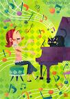 ピアノのイラスト 「猫とピアニスト」