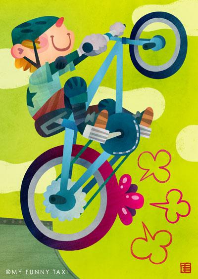 自転車のイラスト 「パンク」