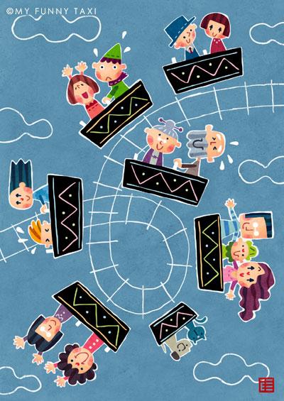 ジェットコースターのイラスト Roller coaster illustration