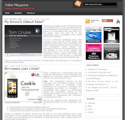 Rebel Magazine Blogger Template