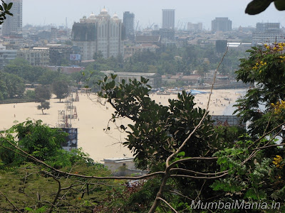view of chowpatty beach from hanging garden