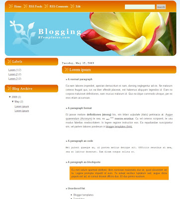 Flower Blogging Blogspot Theme