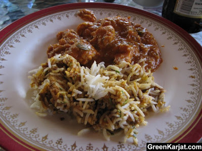 chicken biryani and butter chicken at dadas grill in karjat