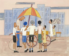 William Henry Johnson, Ice Cream Stand, ca. 1939-1942, Gouache, ink, and graphite on paper,  Courte