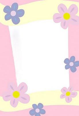 Papel de carta para escribir blanco con flores rosas y - Hojas decoradas para ninas ...