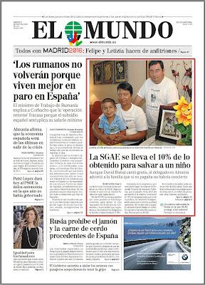 Portada del diario El Mundo