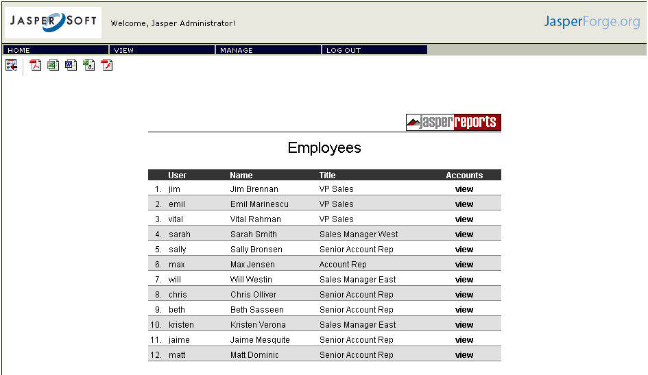 Jasper Server Reports Employee List Report
