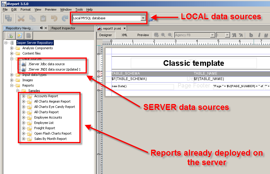 reports and data sources in the repository
