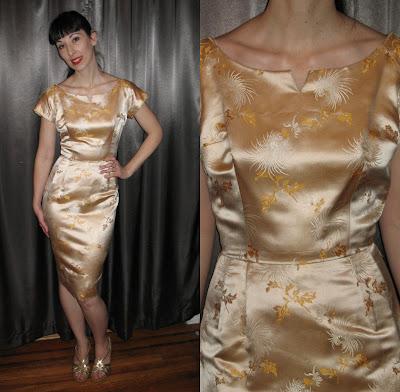 1960's Satin Wiggle Dress
