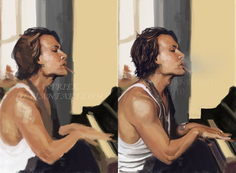 Johnny Depp playing the piano. Reference used. Photoshop CS3.