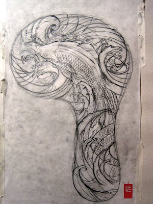 Character Koi Sleeve Tattoo first draft