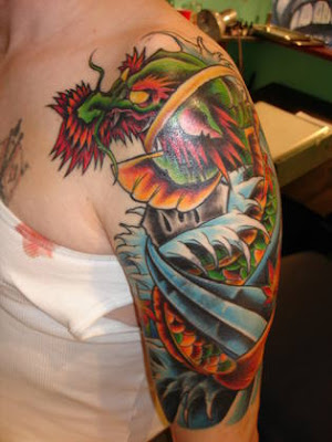 Breast tattoos design ideas for Butterfly koi tattoo
