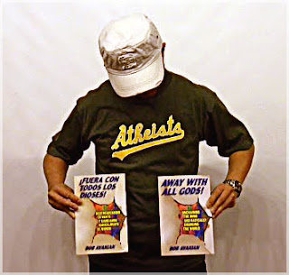 Atheists Tee Shirt Oakland Athletics baseball team logo takeoff with Atheist book Away with All Gods from Revolution Books