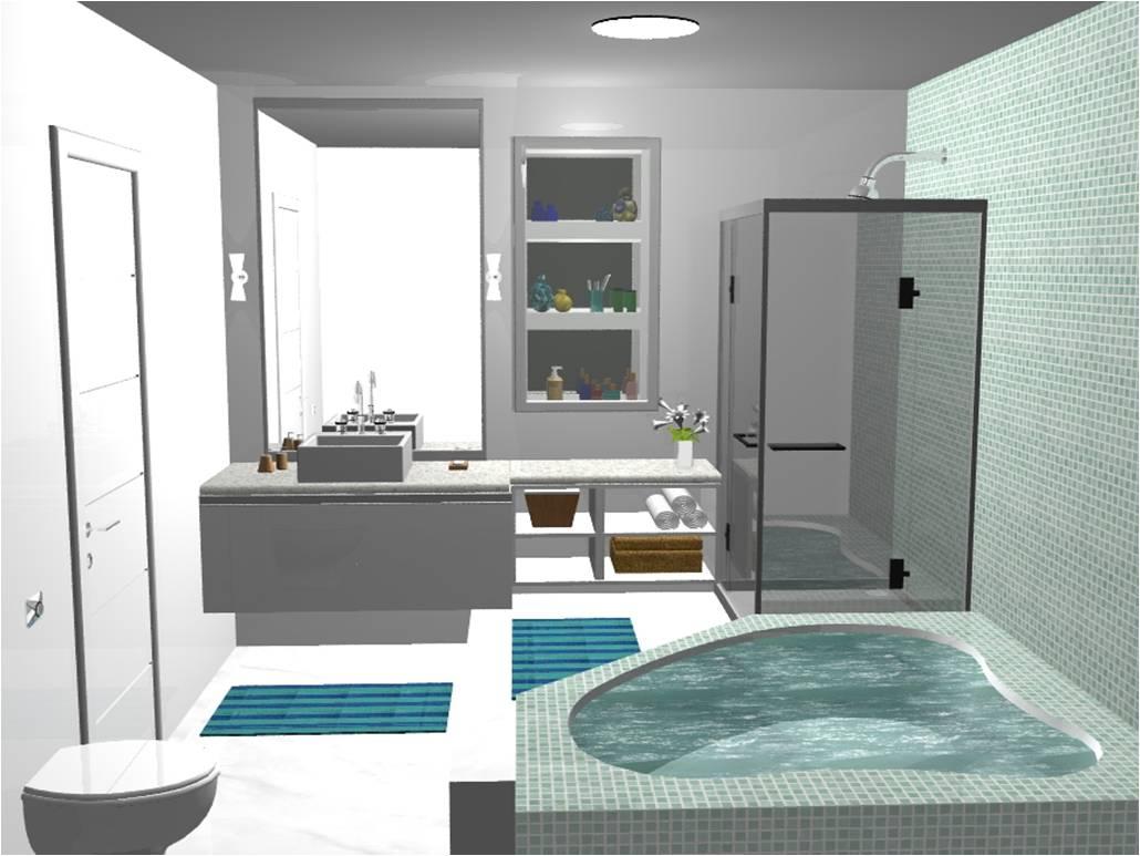 iluminação banheiros casal social lavabo e serviço banheiro casal #3D7783 1030x773 Banheiro Autocad 3d