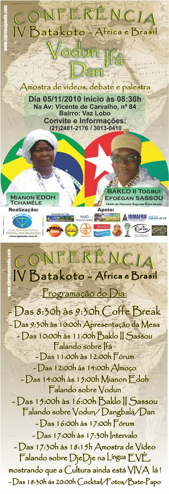 'IV Conferência Batakoto África e Brasil - Vodun, Ifá, Dan'