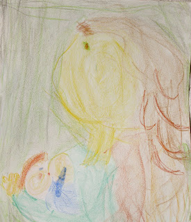 Waldorf crayon drawing breastfeeding