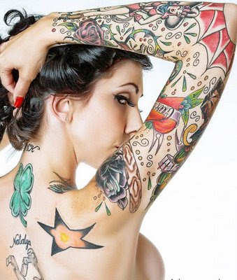 butterfly with flower tattoo arm women sexy girls