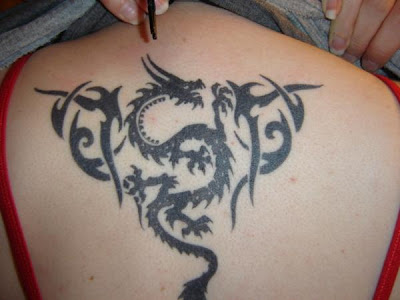 tribal tattoo dragon back women sexy girls