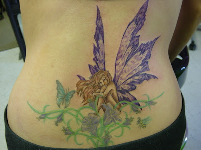 angel and flower tattoo lower back women sexy girls