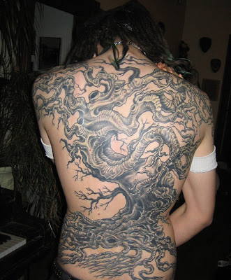 3D Tree Tattoo, Full Back Piece Tattoo Design