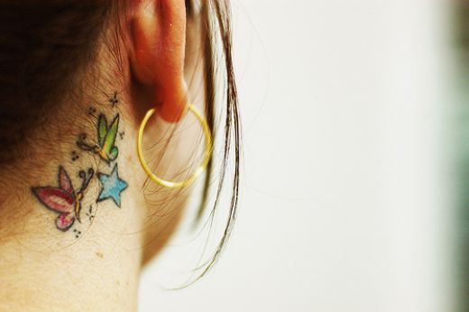 star tattoos designs on neck. Neck Tattoos, flowers neck tattoo, Butterfly neck tattoo, Star neck tattoo