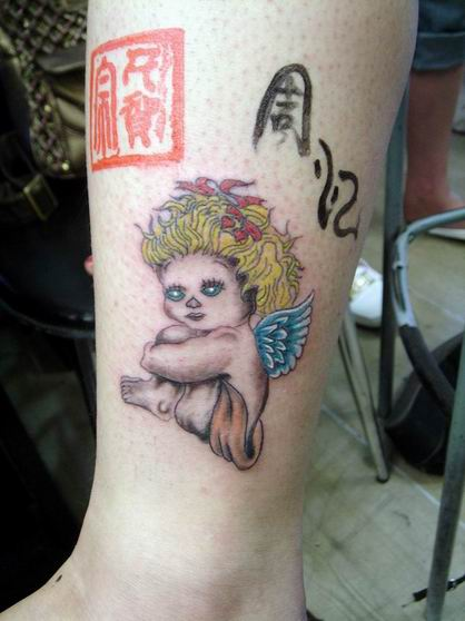 baby angel tattoo, leg tattoo engel new design