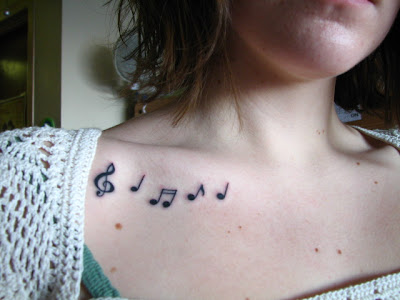 note tattoo design, song tattoo, new style tattoo