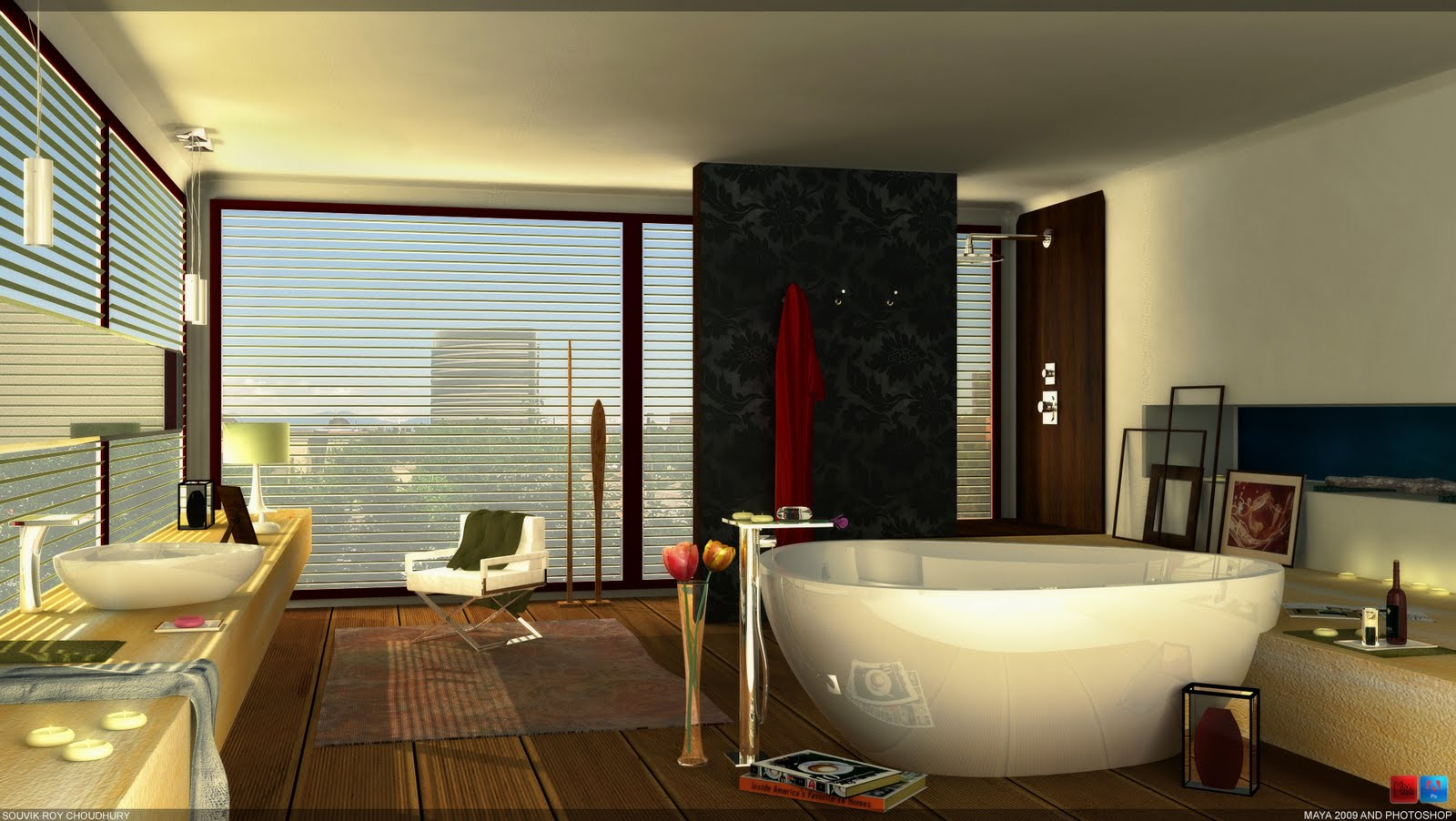 Hans Ghroe Axor Massaud Bathroom   Modeled In Maya, Rendered In Mental Ray  And Post Work In Photoshop.