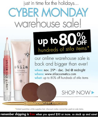 Cyber Monday | Deals | Stila | Cosmetics | Warehouse | Sale